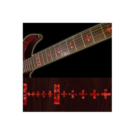 Sticker guitare touche croix rouge abalone