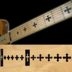 Sticker guitare touche croix noir pearl