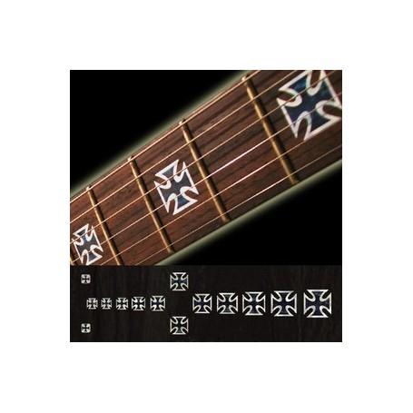 Sticker guitare touche croix de fer noir pearl