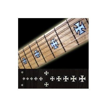 Sticker guitare touche croix de fer blanc abalone