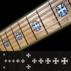 Sticker guitare touche croix blanc abalone