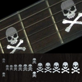 Sticker guitare touche tête de mort lateral metal