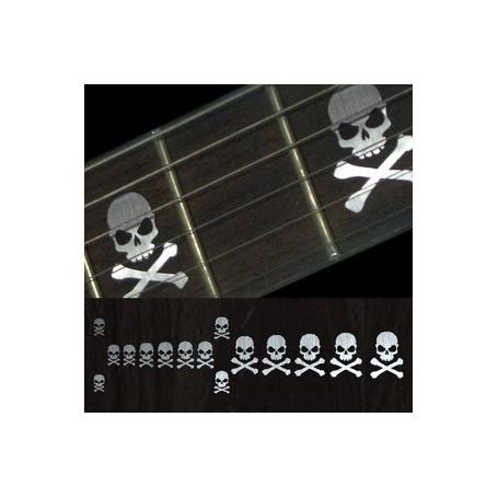 Sticker guitare touche tête de mort lateral metal