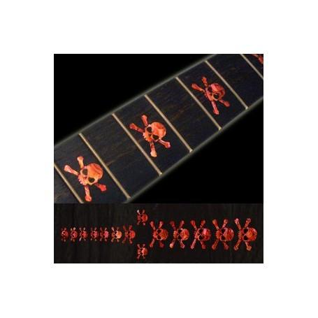 Sticker guitare touche tête de mort rouge abalone