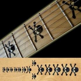 Sticker guitare touche tête de mort noir pearl