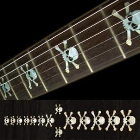 Sticker guitare touche tête de mort blanc abalone