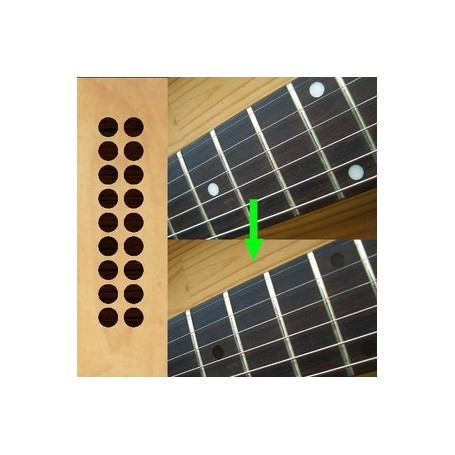 "Sticker guitare touche 1/4"" dots rosewood"