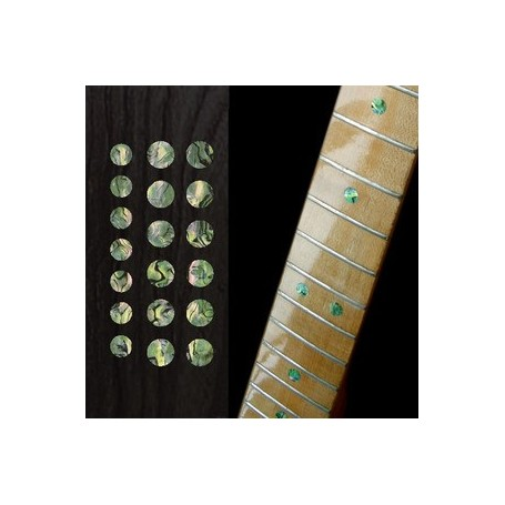 "Sticker guitare touche dots 5/16"" & 1/4"" vert abalone"