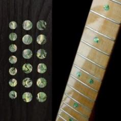 "Sticker guitare touche dots 5/16"" & 1/4"" vert abalone"