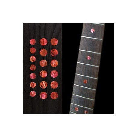 "Sticker guitare touche dots 5/16"" & 1/4"" rouge abalone"