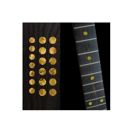 "Sticker guitare touche dots 5/16"" & 1/4"" jaune abalone"