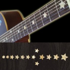 Sticker guitare touche étoiles everly brothers blanc abalone