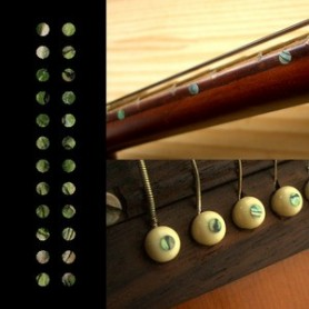 "Sticker guitare touche petits dots 1/8"" vert abalone"