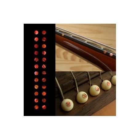 "Sticker guitare touche petits dots 1/8"" rouge abalone"