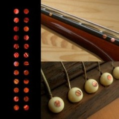 "Sticker guitare touche petits dots 1/8"" rouge abalone"