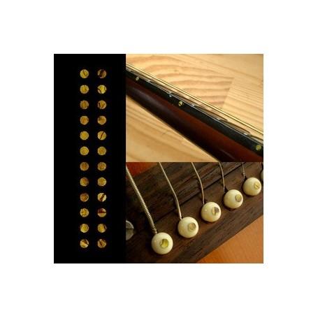 """Sticker guitare touche petits dots 1/8"""" jaune abalone"""