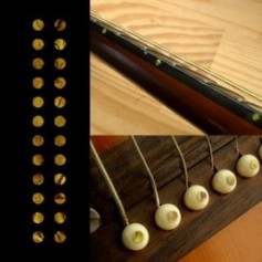 "Sticker guitare touche petits dots 1/8"" jaune abalone"