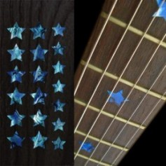 Sticker guitare touche étoiles bleu abalone