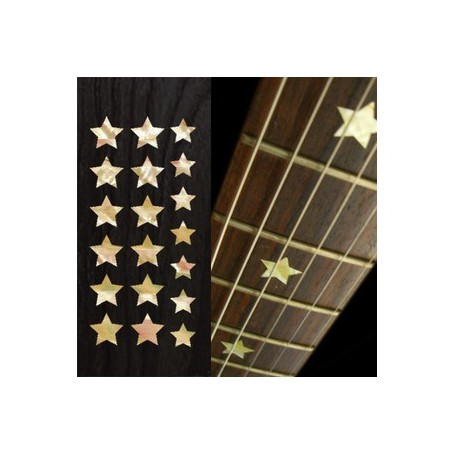 Sticker guitare touche étoiles blanc abalone