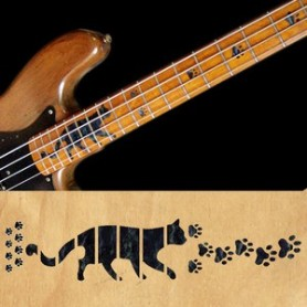 Sticker guitare touche pas de chat noir pearl basse