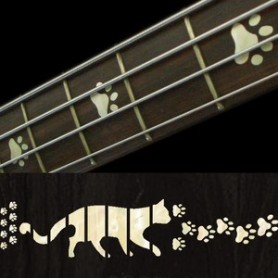 Sticker guitare touche pas de chat blanc abalone basse