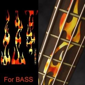 Sticker guitare touche flammes basse