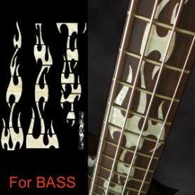 Sticker guitare touche flammes blanc abalone basse