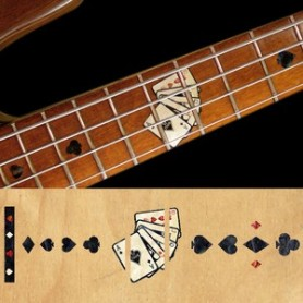 Sticker guitare touche jeu de carte noir pearl basse