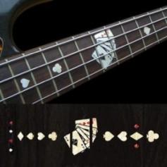 Sticker guitare touche jeu de carte blanc abalone basse