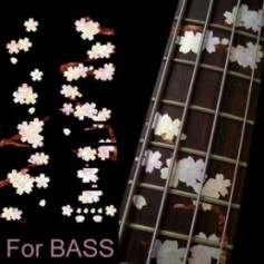 Sticker guitare touche végétal sakura basse