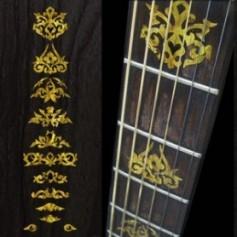 Sticker guitare signature touche Jerry Garcia jaune abalone