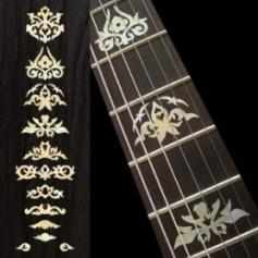 Sticker guitare signature touche Jerry Garcia blanc abalone