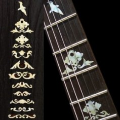 Sticker guitare signature touche Jerry Garcia wolf blanc abalone