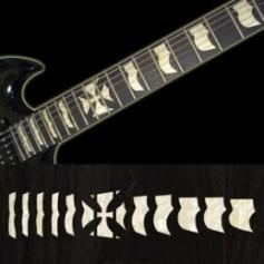Sticker guitare signature Hetfield croix blanc abalone