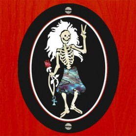 Sticker guitare signature Jerry Garcia dancing skeleton
