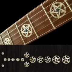 Sticker guitare signature pentagramme blanc abalone Kevin Bond