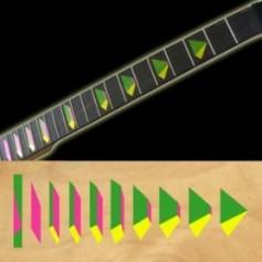 Sticker guitare signature pyramide vert jaune rose