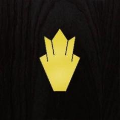 Sticker tête guitare couronne dore