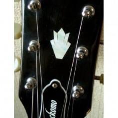 Sticker tête guitare couronne blanc abalone