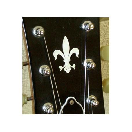 Sticker tête guitare fleur de lys blanc abalone
