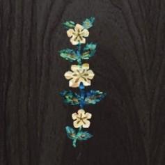 Sticker tête guitare fleur de vigne bleu abalone