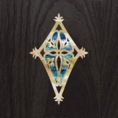 Sticker tête guitare bouclier bleu abalone