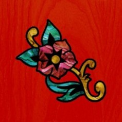 Petit sticker guitare fleur des caraibes