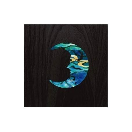 Petit sticker guitare croissant de lune bleu abalone