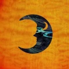 Petit sticker guitare croissant de lune noir pearl