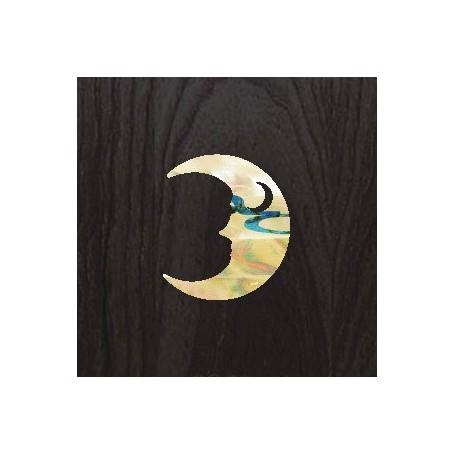 Petit sticker guitare croissant de lune blanc abalone