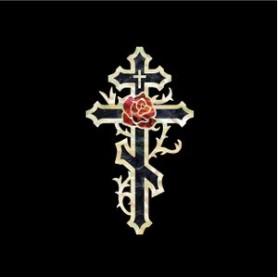Petit sticker guitare croix & rose