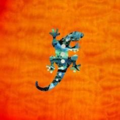 Petit sticker guitare lézard bleu abalone