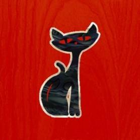 Petit sticker guitare rocat noir pearl