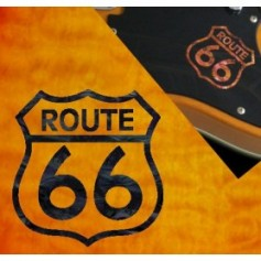 Petit sticker guitare route 66 noir pearl